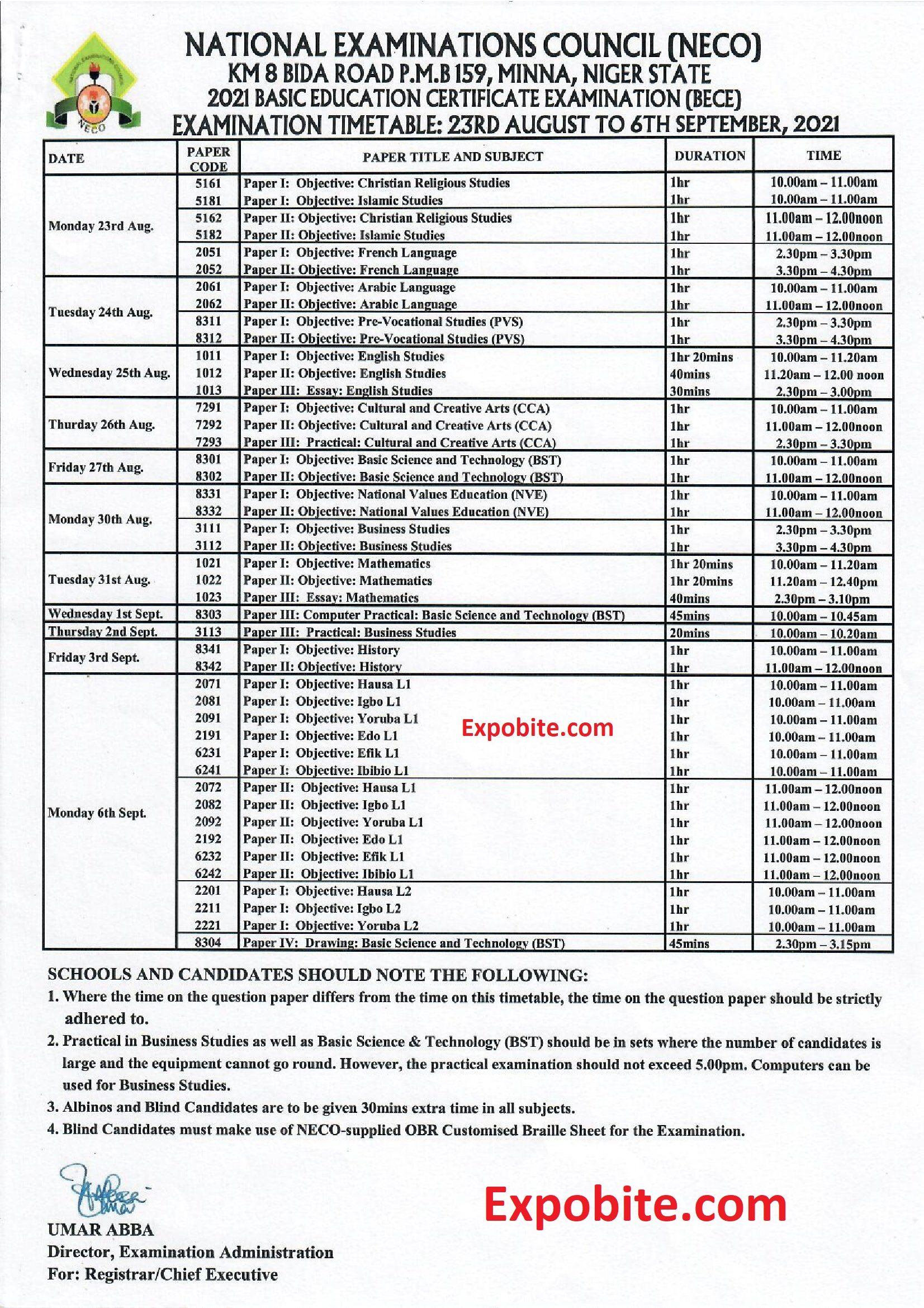 2021 Bece Timetable