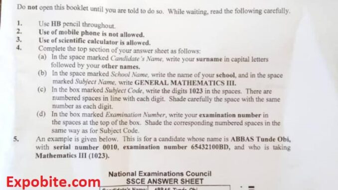 Neco 2021 Mathematics Question Paper